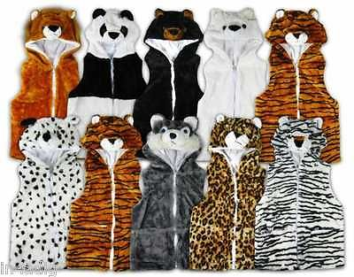 Boys Girls Hooded Animal Print Hat Waistcoat Gilet Body Warmer