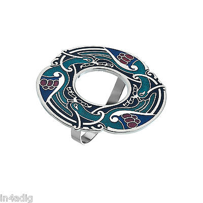 Celtic Birds Blue Tone Enamel Scarf Ring Gift Boxed