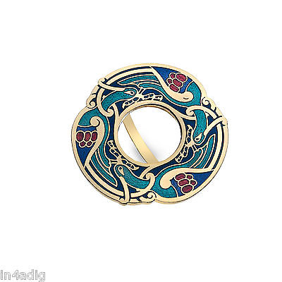 Celtic Birds Gold Tone Blue Enamel Scarf Ring Gift Boxed