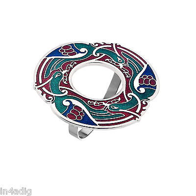Celtic Birds Red /Green Tone Enamel Scarf Ring Gift Boxed