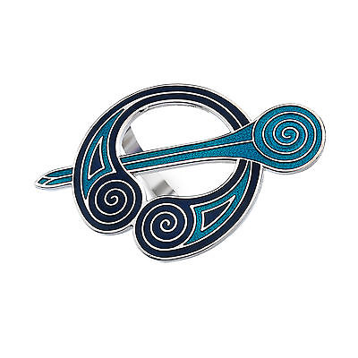 Celtic Blue Coils Enamel Scarf Ring - Gift Boxed