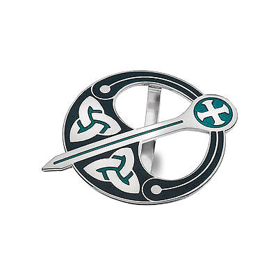 Celtic Trinity Knot Tara Green Enamel Scarf Ring - Gift Boxed