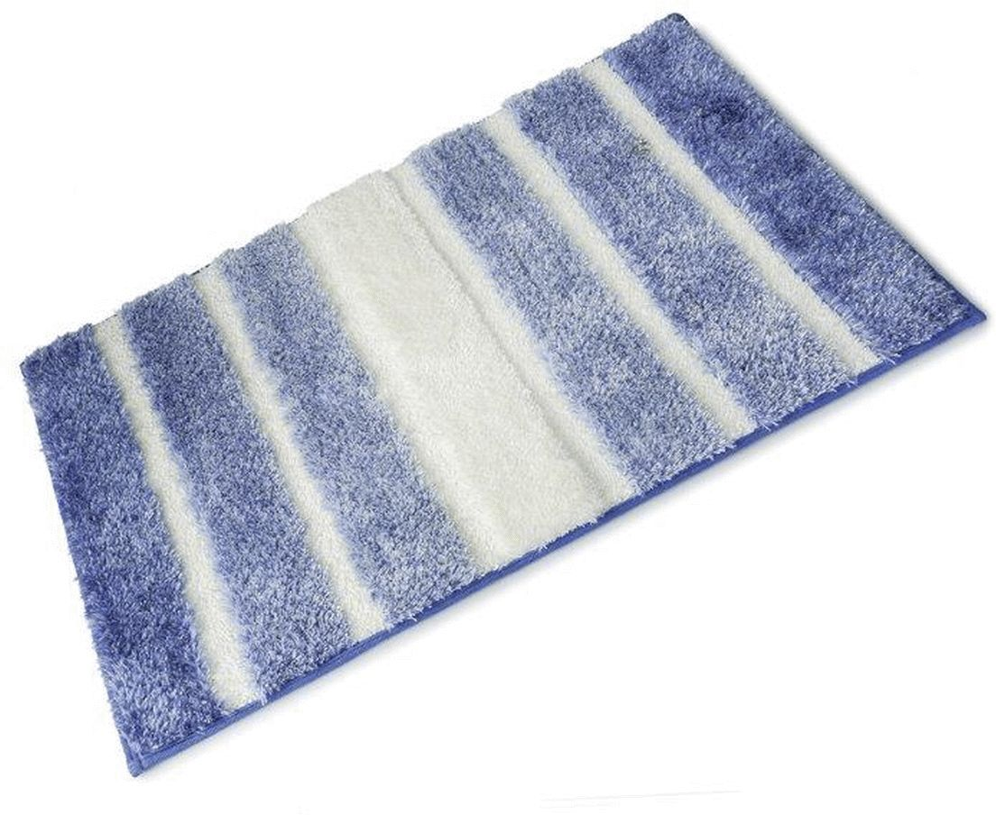 Bathroom rugs with rubber backing - Oasis Blue And White Striped Full Rubber Backed Microfibre Single