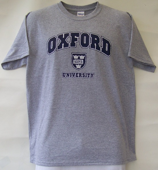 Oxford university t shirt with shield for T shirt printing oxford