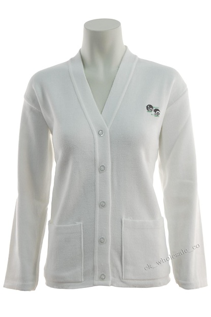 White Bowling Embroidered Logo Cardigan Sizes Small to 5XL