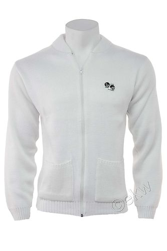 White Lawn Bowls Full Zip Cardigan Sizes Small to 5XL