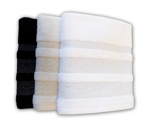 LUXOR GLITTER BORDER HAND AND BATH TOWELS - WHITE, CREAM, BLACK, GRAPE