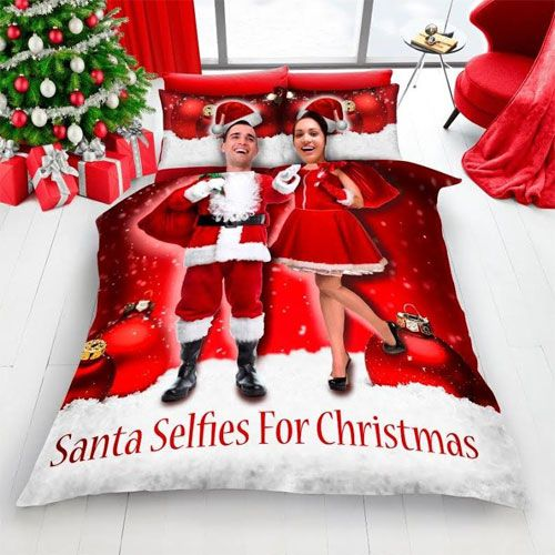 Christmas Red Santa Selfie Duvet Set - Double
