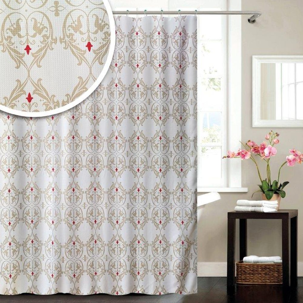 Damask Polyester Shower Curtain 180 x 180cm
