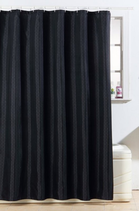 Diamante Polyester Shower Curtain 180 x 180cm - Black or White