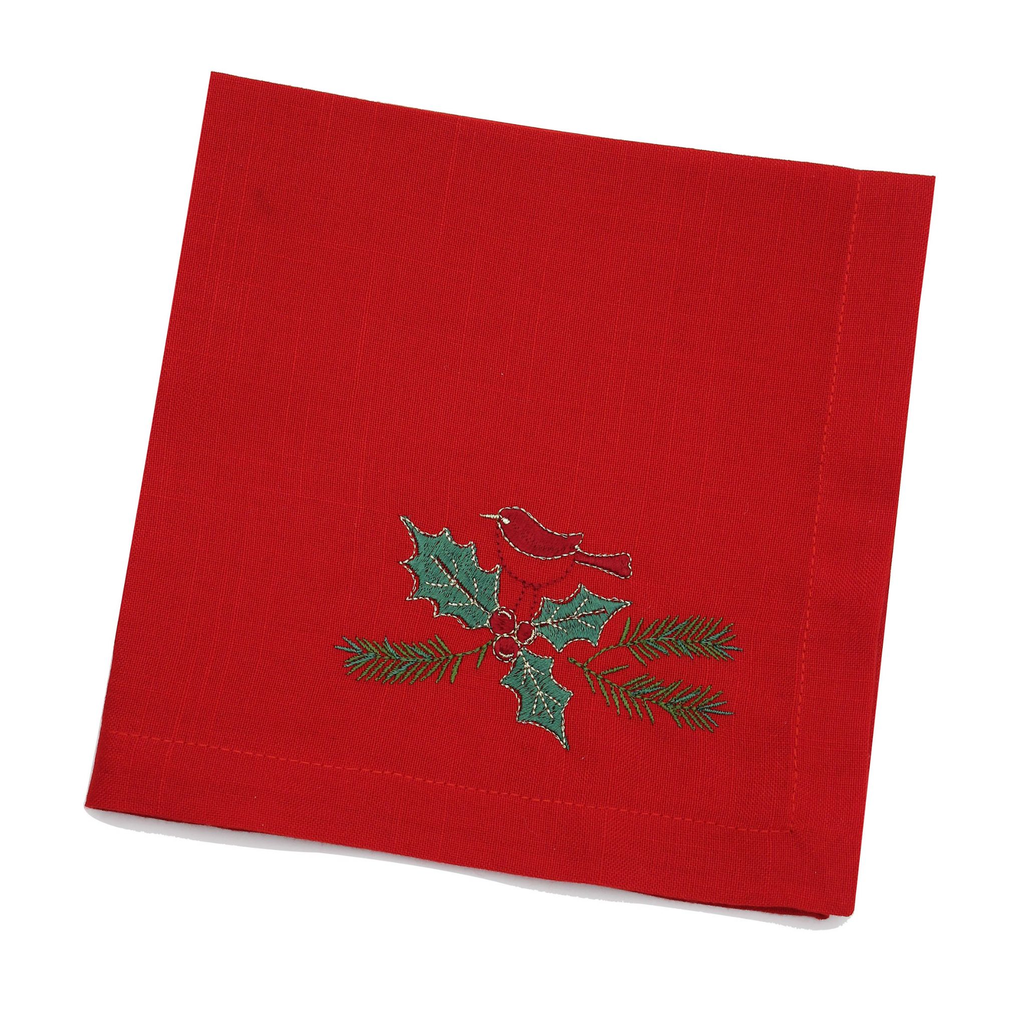 Evergreen Embroidered Christmas Table Linen Napkins Doilies Table Runners Tablecloths