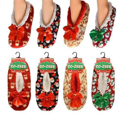 Ladies Luxury Christmas Design Sherpa Fleece Lined Slippers UK Size 4-7
