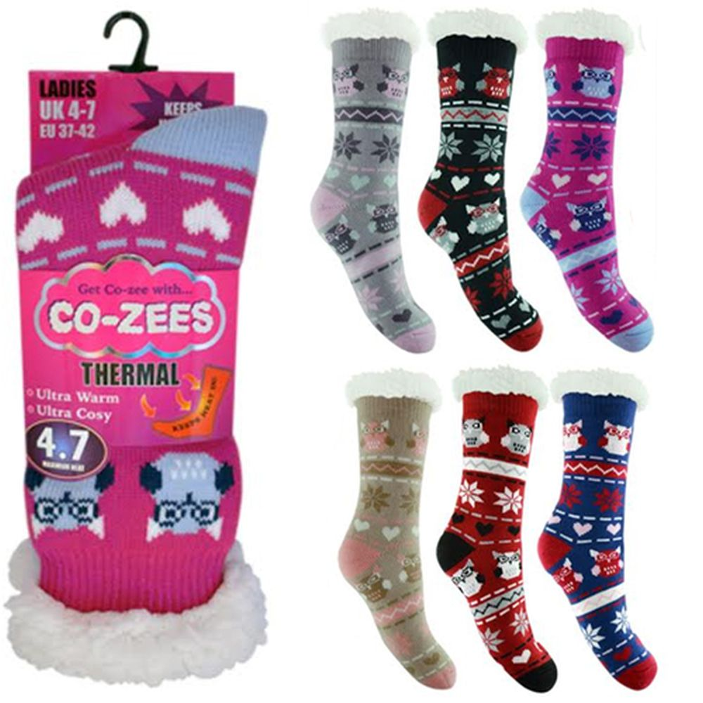 d27591ecd7300 Ladies Owl Thermal Sherpa Fleece Fairisle Slipper Socks