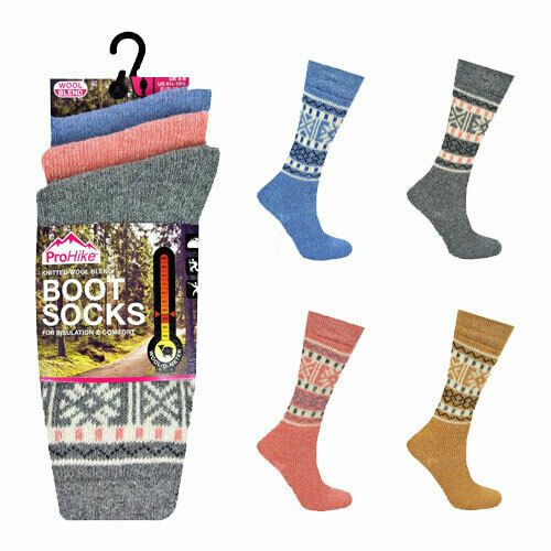 Ladies Prohike Knitted Wool Blend Thermal Boot Socks 3 Pack - UK Size 4-8