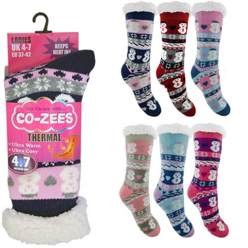 Ladies Snowman Thermal Sherpa Fleece Fairisle Slipper Socks