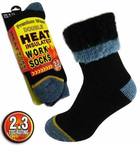 "Men's Extra Warm 2.3 Tog Thermal ""DOUBLE HEAT"" Insulated Work Boot Socks UK 6-11"