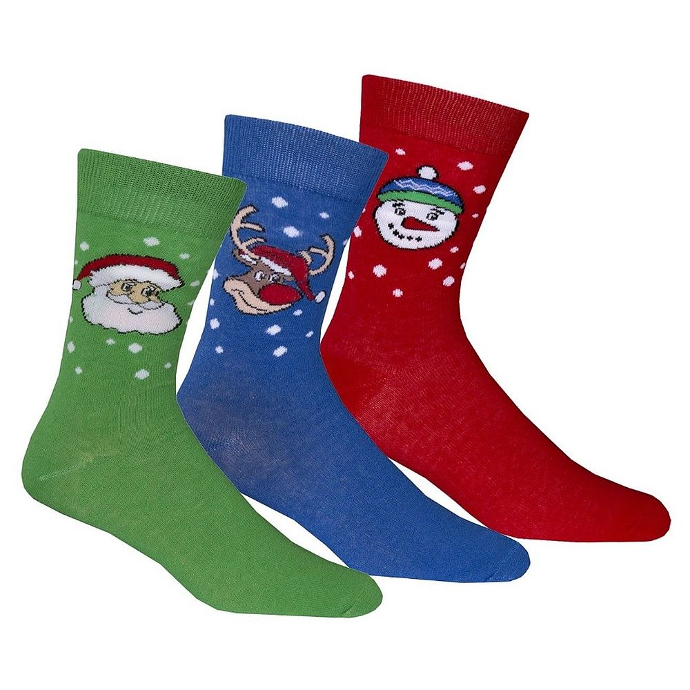 Men's Festive Christmas Socks Cotton Rich Gift Packed 3 Pack