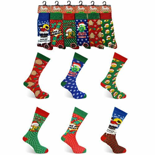 Mens Christmas Santa Socks Novelty UK Size 6-11 EUR 39-46 - 6 Styles