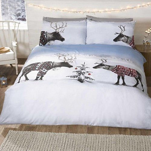 Reindeer In Jumpers Christmas Quilt Duvet Cover and Pillow Case Set
