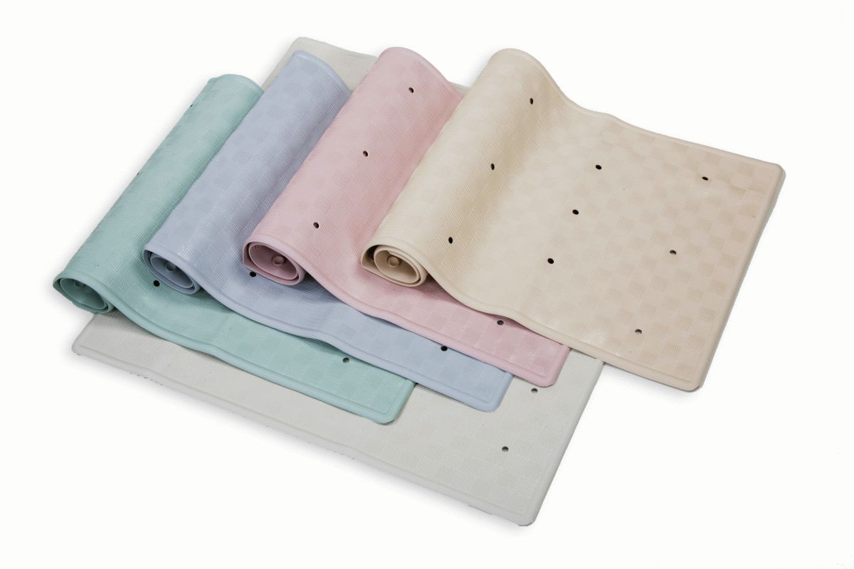 Rubber Bath Mat With Suction Cups 34cm X 74cm Cream
