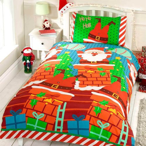 Santas Chimney Christmas Quilt Duvet Cover and Pillow Case Set