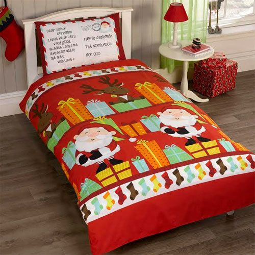 Santas List Christmas Quilt Duvet Cover and Pillow Case Set