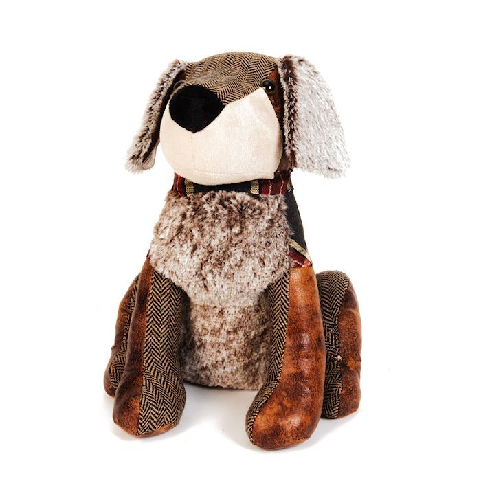 Tartan And Faux Leather Dog Doorstop 25cm