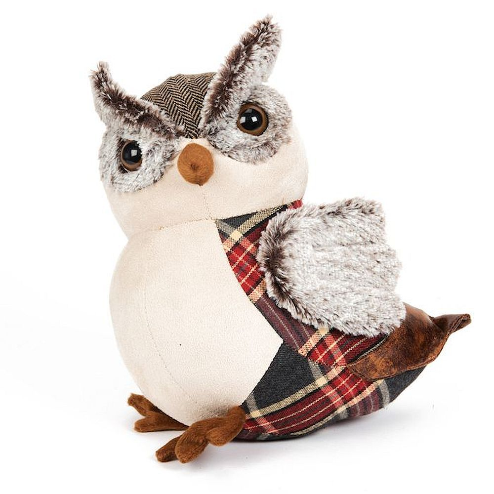 Tartan And Faux Leather Owl Doorstop 27cm