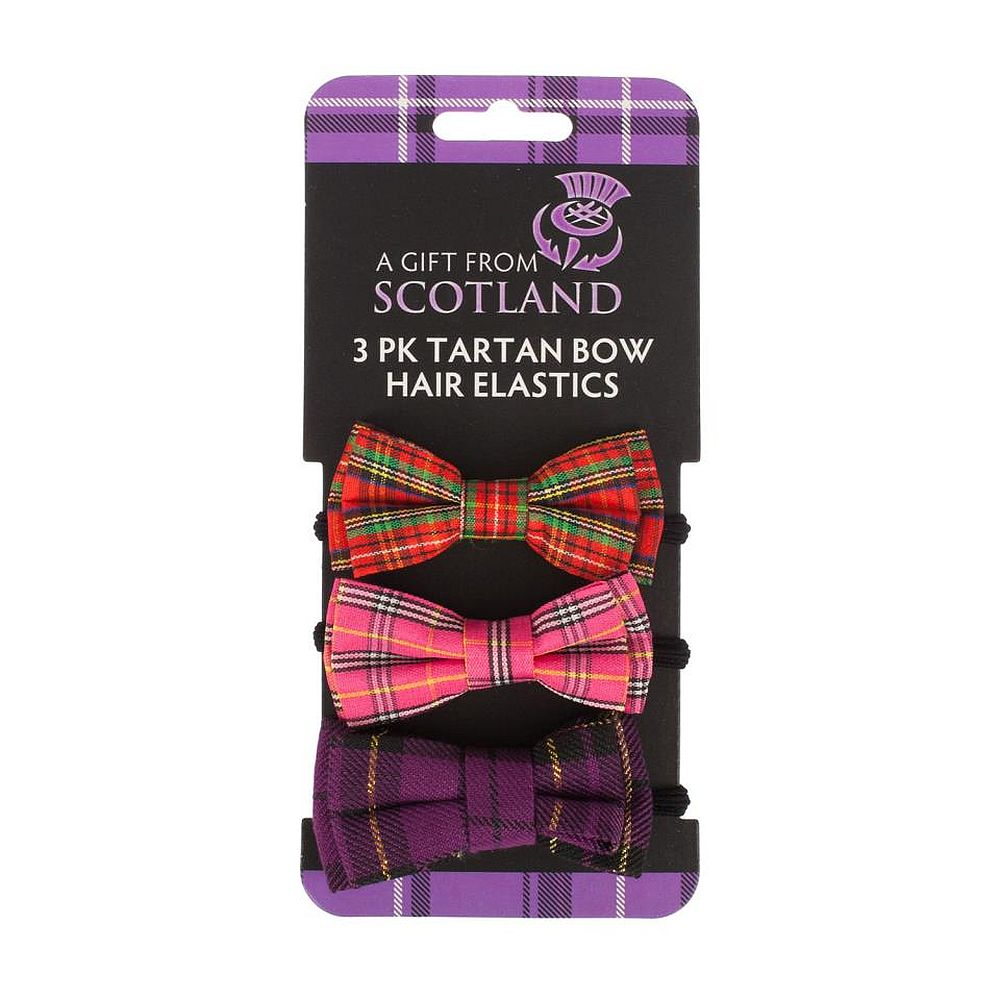 Tartan Bow Hair Elastics - Pack of 3
