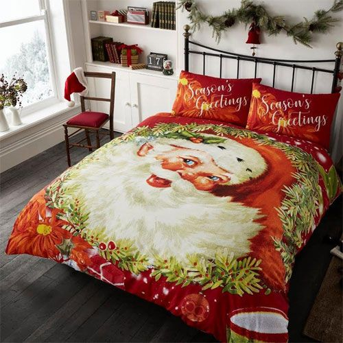 Traditional Santa Claus Seasons Greetings Duvet Set - Double