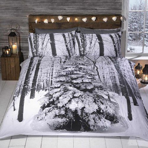 Winter Sparkle Christmas Quilt Duvet Cover and Pillow Case Set